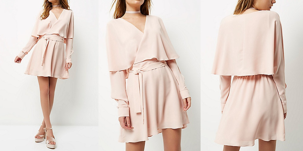 Light pink tie waist dress